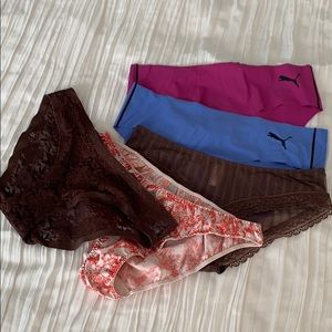 Lot of 5 panties Victoria's Secret Puma jezebel M